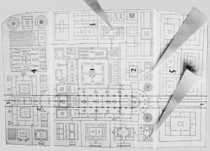 Kloster St. Gallen, Plan von 814; die drei Pfeile zeigen die drei im Klosterplan fesgehaltenen Bauereien.